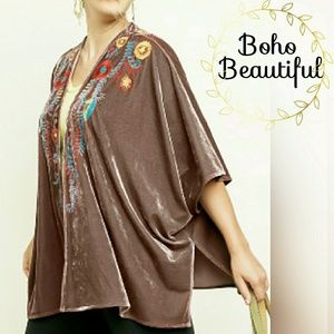 Tops - PLUS Embroidered Crushed Velvet Open Kimono
